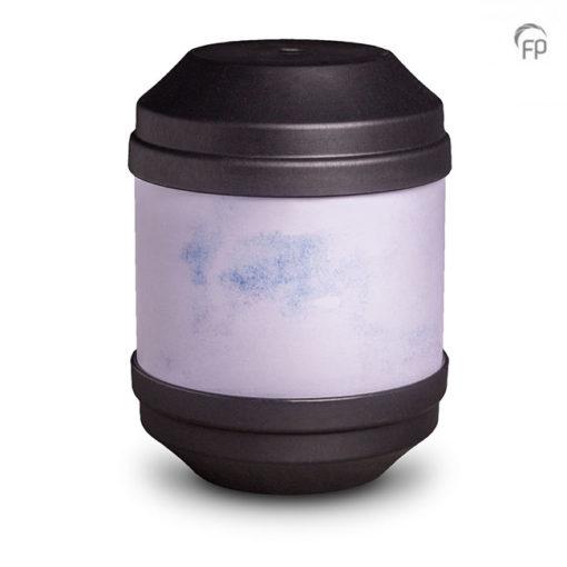 Biologische urn, blauw. Beschrijfbaar met bijgeleverde potloodjes.