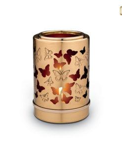 Love Urn kaars goudkleurig met vlinders