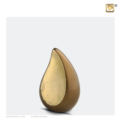 Druppel urn bruin met goud K581
