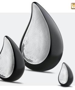 Druppel urn zwart met zilver set