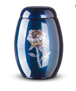 Glasfiber urn, donkerblauw met roos van parelmoer
