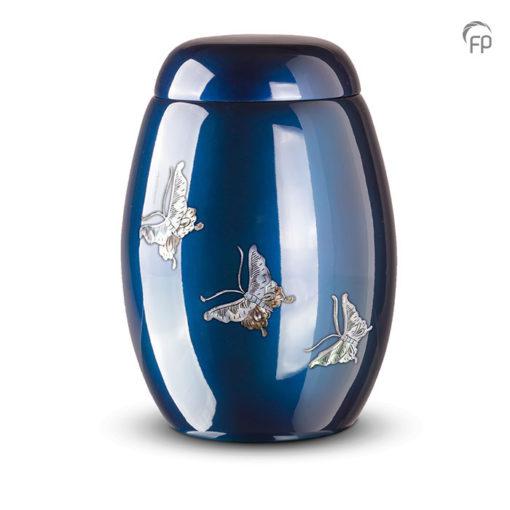 Glasfiber urn, donkerblauw met vlinders van parelmoer