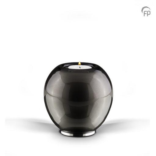 Glazen urn zwart met wit kaars
