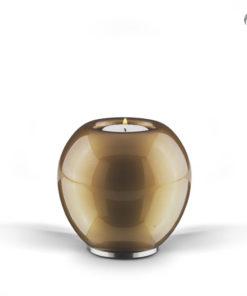 Glazen Urn glanzend bruin met wit + kaars kaars