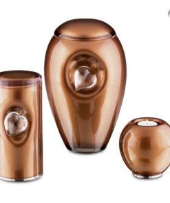 Glazen Urn glanzend bruin met wit + kaars
