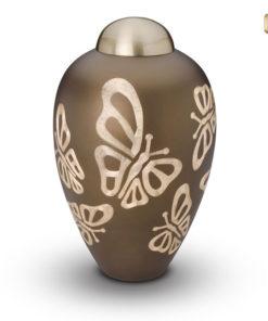 urn goudbruin met vlinders