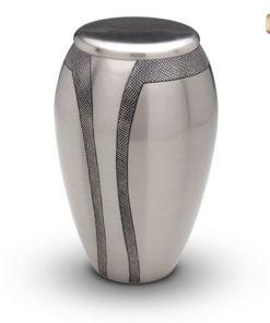 Urn matte zilverkleur met decoratie