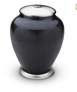 Urn zwart met geborstelde zilverkleurige messing