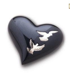 Urn Antraciet grijs met zilverkleurige vogels