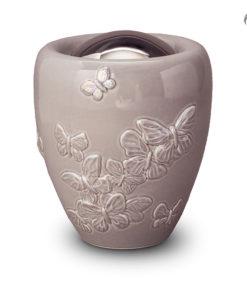 Urn grijs in de vorm van vaas met vlinders