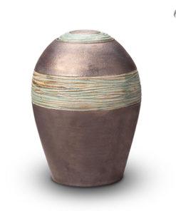 Keramische Urn metallic zilver met groene band