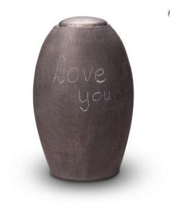 Keramische urn mat zwart schrijfbaar