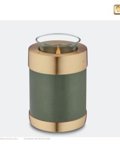Love Urn waxinelichthouder groen met goud T672