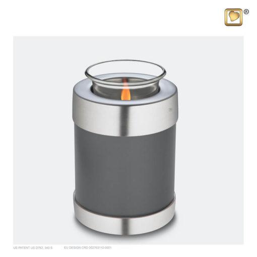 Love urn waxinelichthouder grijs met zilver T673