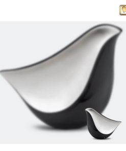 Lovebird urn vogel antraciet grijs met zilverkleurig vlak A550 set