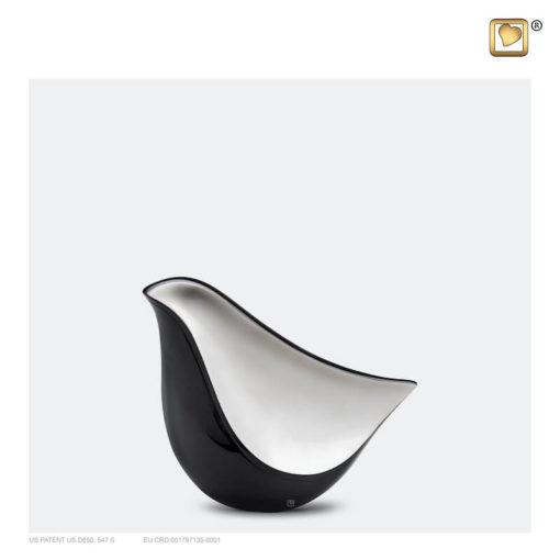 Lovebird urn vogel antraciet grijs met zilverkleurig vlak K550