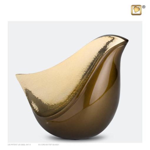 Lovebird urn vogel bruin met gehamerd goudkleurig vlak A551