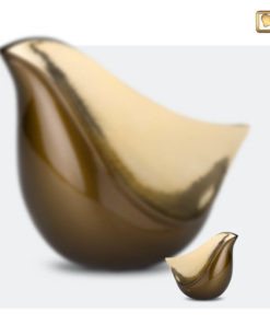 Lovebird urn vogel bruin met gehamerd goudkleurig vlak A551 set