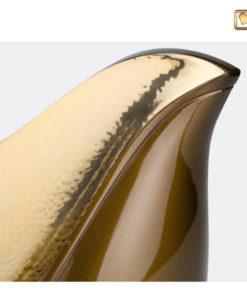 Lovebird urn vogel bruin met gehamerd goudkleurig vlak A551 zoom