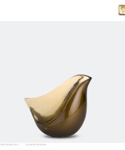 Lovebird urn vogel bruin met gehamerd goudkleurig vlak K551