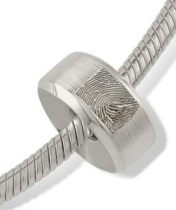 Zilveren bead met vingerafdruk