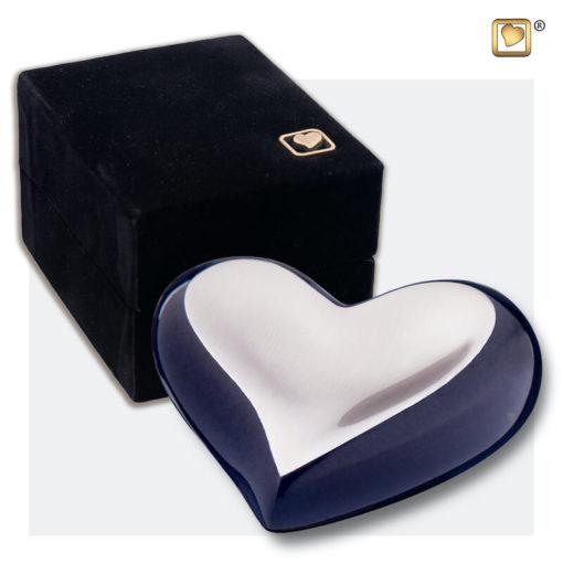 Messing mini urn hart antraciet grijs met zilver
