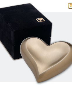 Messing mini urn hart goud geborsteld