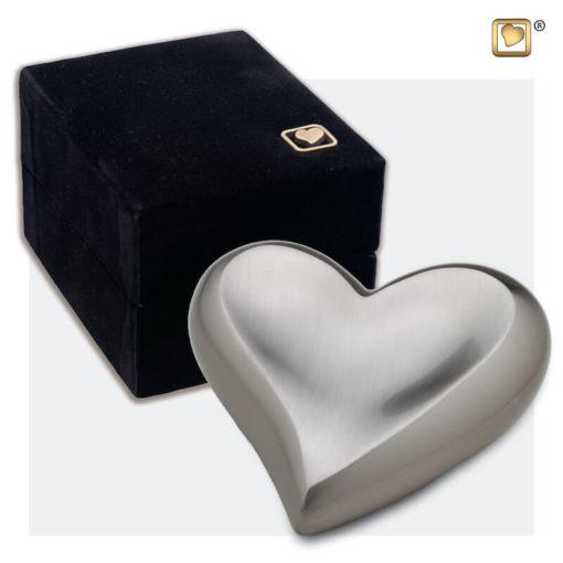 Messing mini urn hart zilver geborsteld