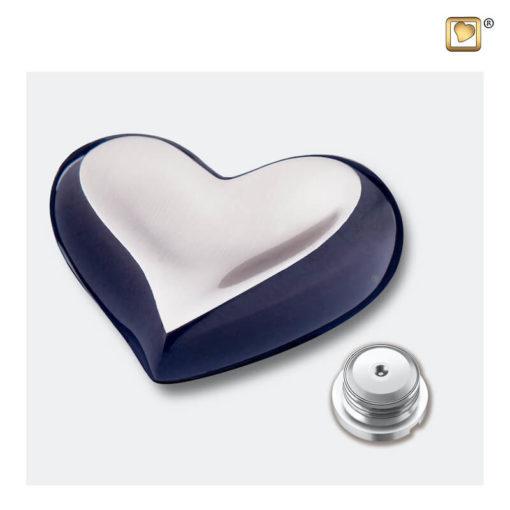 Messing urn hart antraciet grijs met zilver