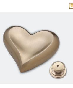 Messing urn hart goud geborsteld