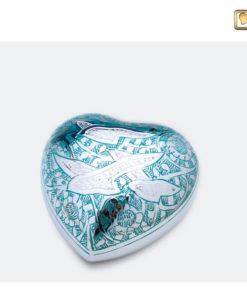 Mini urn bol hart blauw met vogeldecoratie
