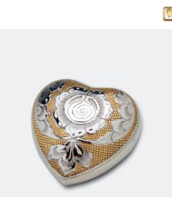 Mini urn bol hart geel met zilveren bloemdecoratie