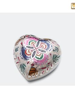 Mini urn bol hart zilver met bloemdecoratie