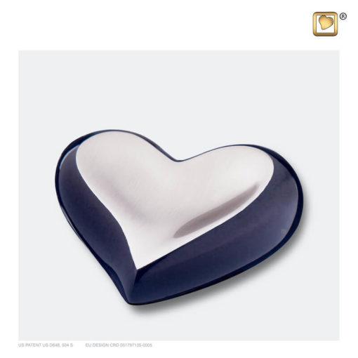 Mini urn hart antraciet grijs met zilver