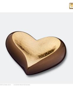 Mini urn hart bruin met goud