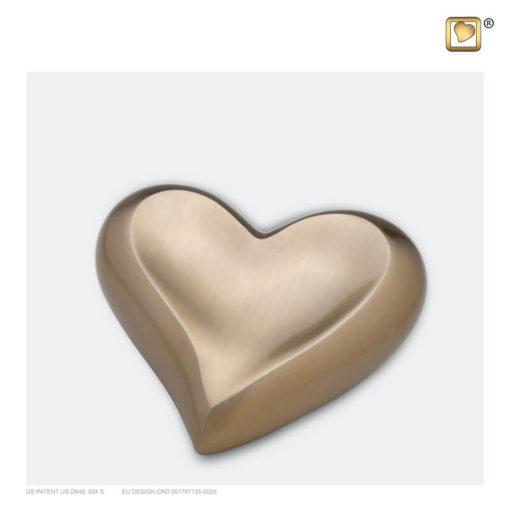 Mini urn hart goud geborsteld