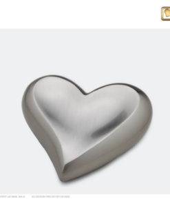 Mini urn hart zilver geborsteld