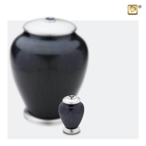 Premium Urn Simplicity zwart met zilver A523 set
