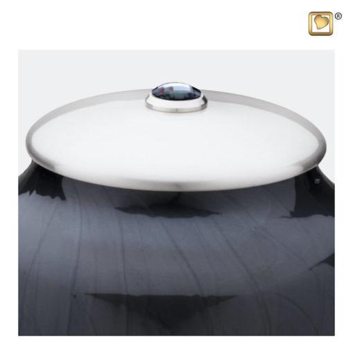Premium Urn Simplicity zwart met zilver A523 zoom
