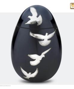 Premium Urn Antraciet grijs met zilverkleurige vogels A270