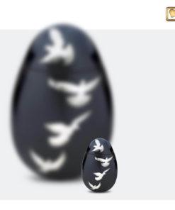 Premium Urn Antraciet grijs met zilverkleurige vogels A270 set