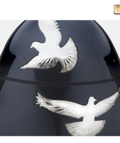 Premium Urn Antraciet grijs met zilverkleurige vogels A270 zoom