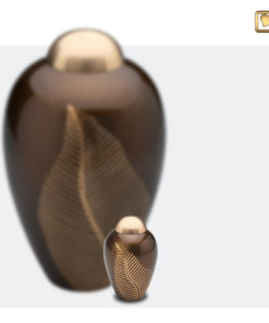 Premium Urn Goudbruine messing met bladgravure A541 set