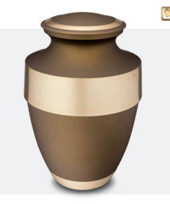 Premium Urn bruine matte lak met gouden messing A260