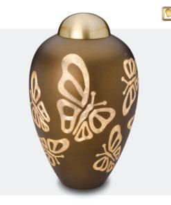 Premium Urn goudbruin met vlinders A543