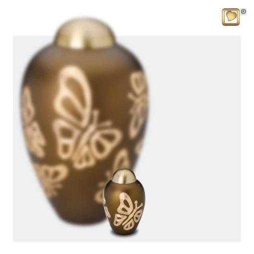 Premium Urn goudbruin met vlinders A543 set