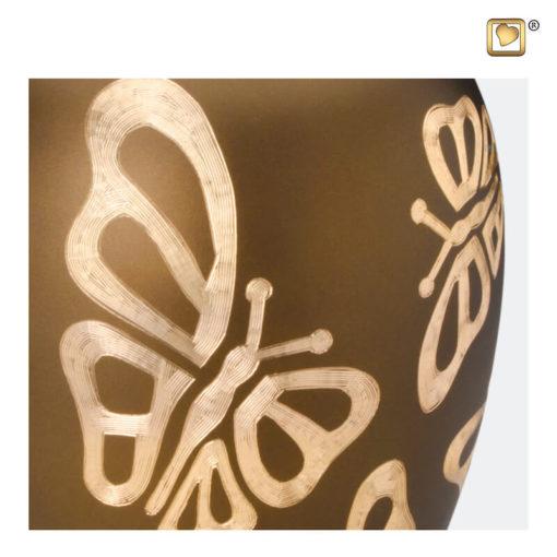 Premium Urn goudbruin met vlinders A543 zoom
