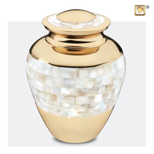 Premium Urn goudkleurig met parelmoer decoratie A230