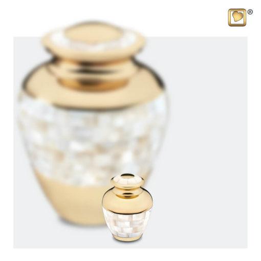 Premium Urn goudkleurig met parelmoer decoratie A230 set