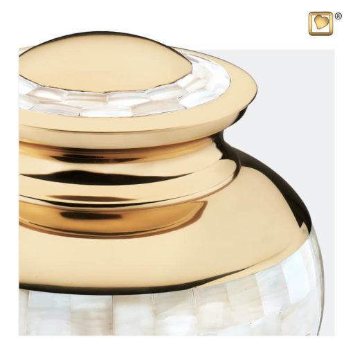 Premium Urn goudkleurig met parelmoer decoratie A230 zoom